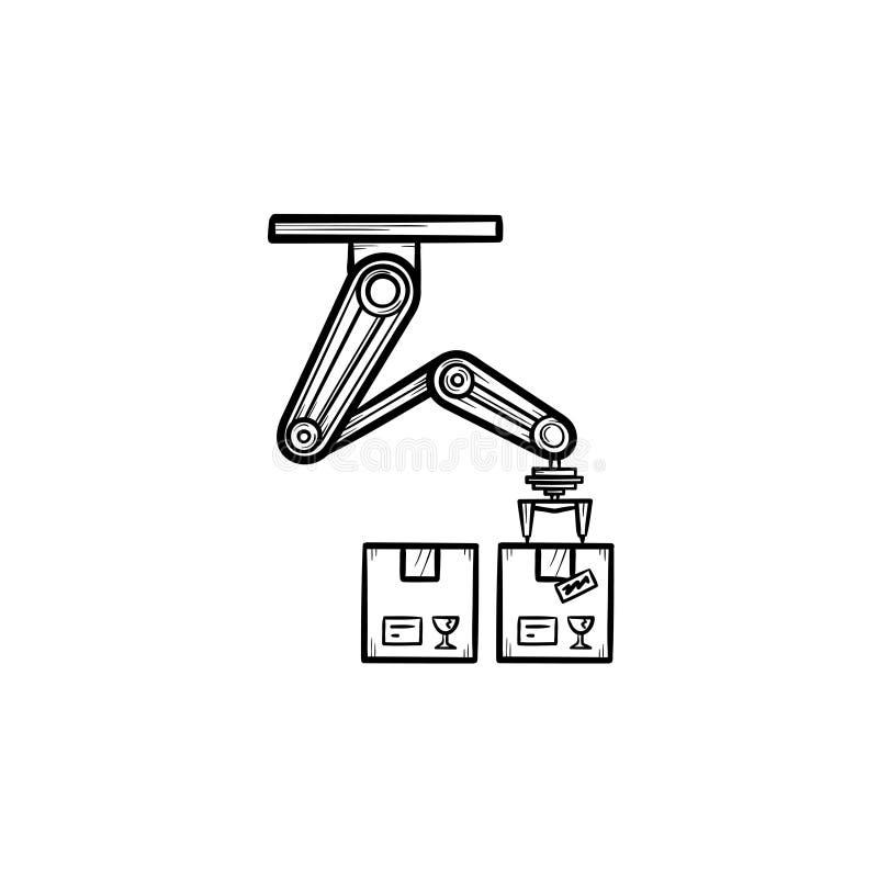 Het robotachtige wapen het plukken pictogram van de het overzichtskrabbel van de kartondoos hand getrokken stock illustratie