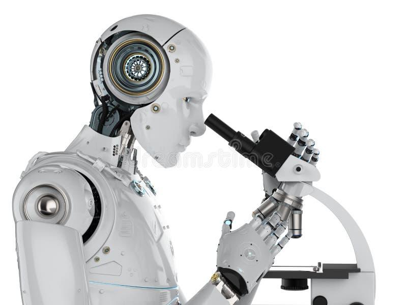Het robotwerk aangaande microscoop stock illustratie