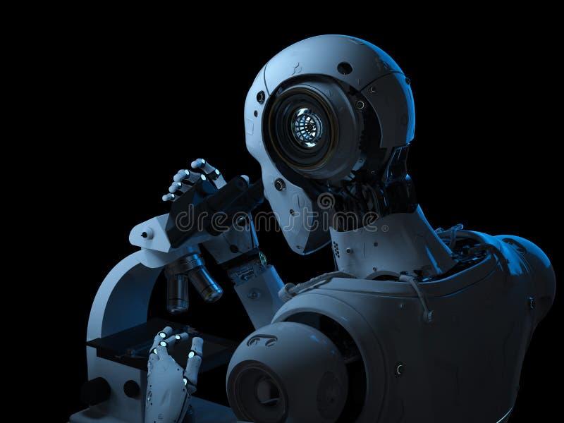 Het robotwerk aangaande microscoop vector illustratie