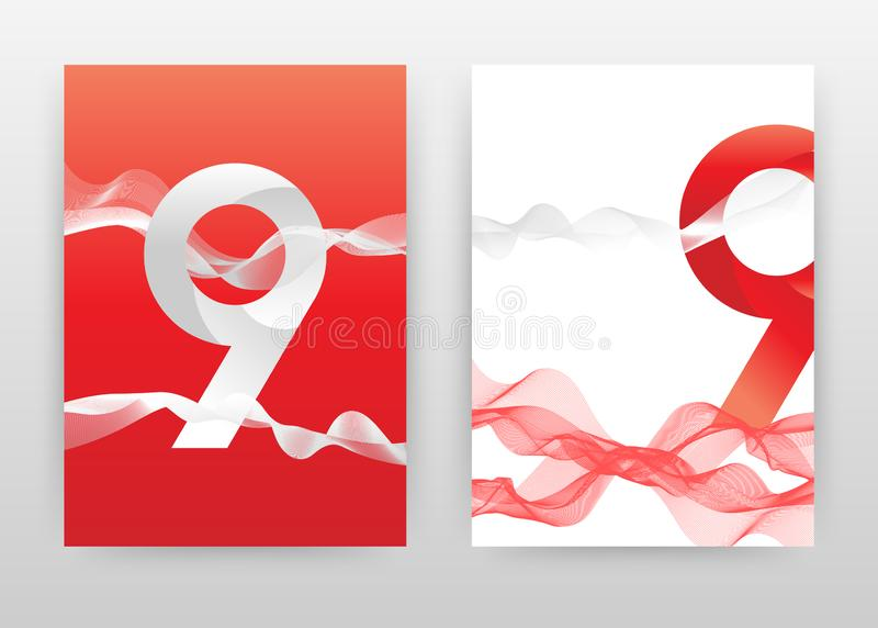 Het rode 9 aantal met rode werveling golfte lijnenontwerp voor jaarverslag, brochure, vlieger, affiche Rode witte van de golflijn vector illustratie