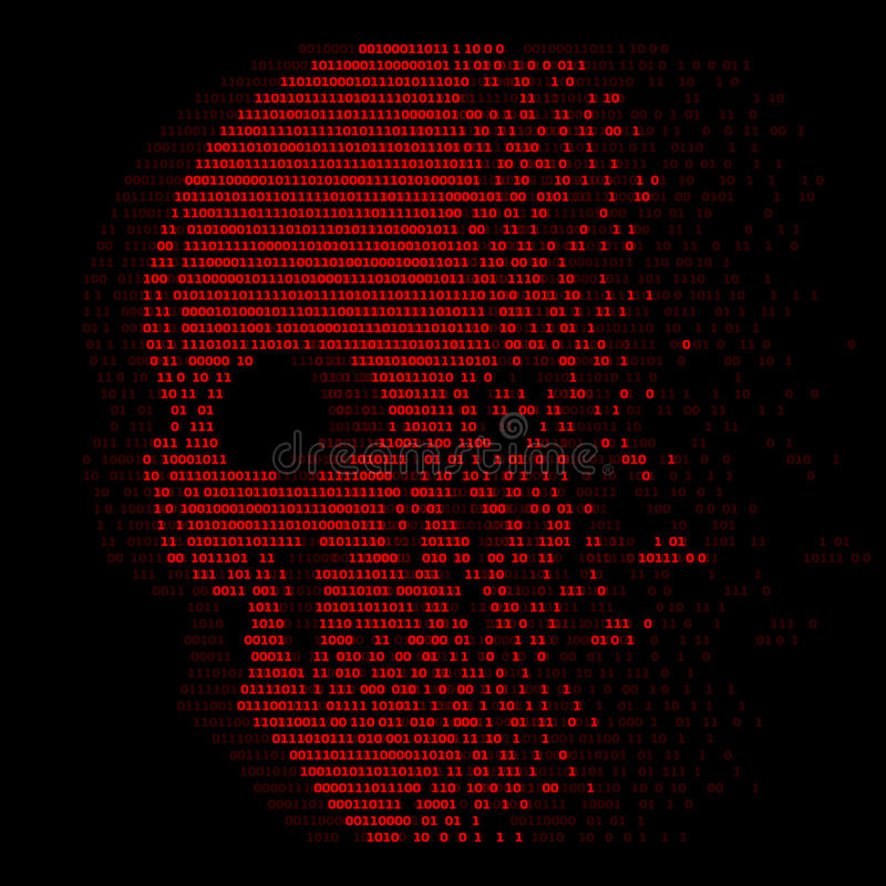 Het rode aantal van schedel digitale logica nul één voor het abstracte vectorontwerp van de virusveiligheid vector illustratie