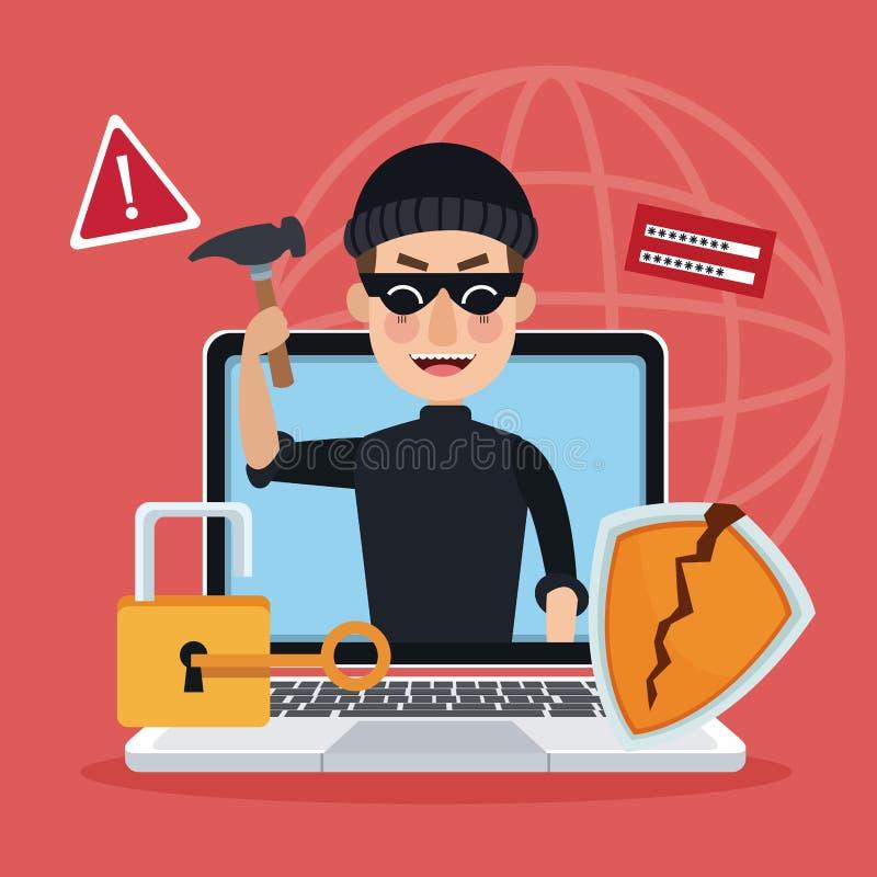 Het rode achtergrond globale wereldsilhouet met laptop en dief het alarm van de mensenhakker valt aan vector illustratie