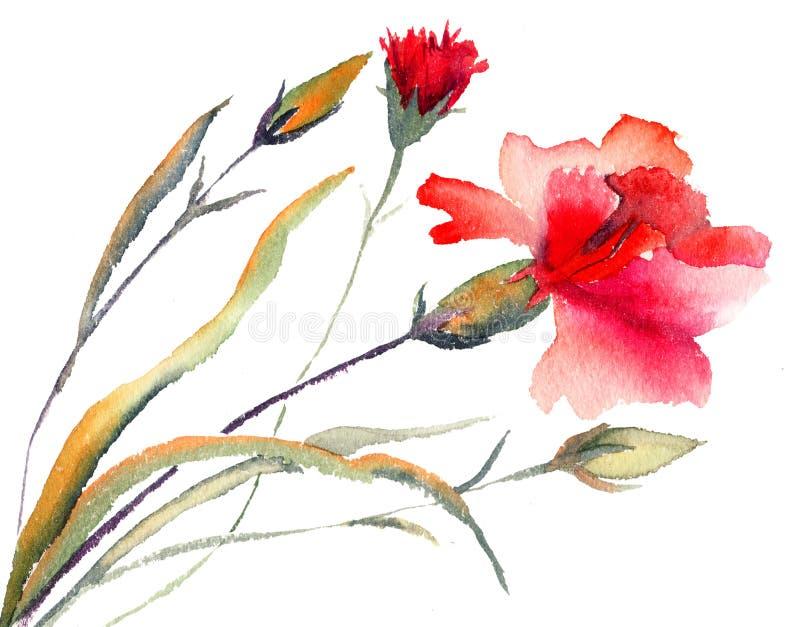 Het rode anjers bloeien royalty-vrije illustratie