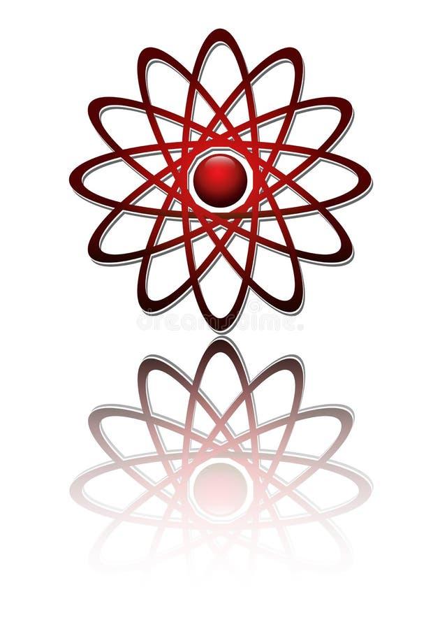 Het rode atoom van het embleem royalty-vrije illustratie