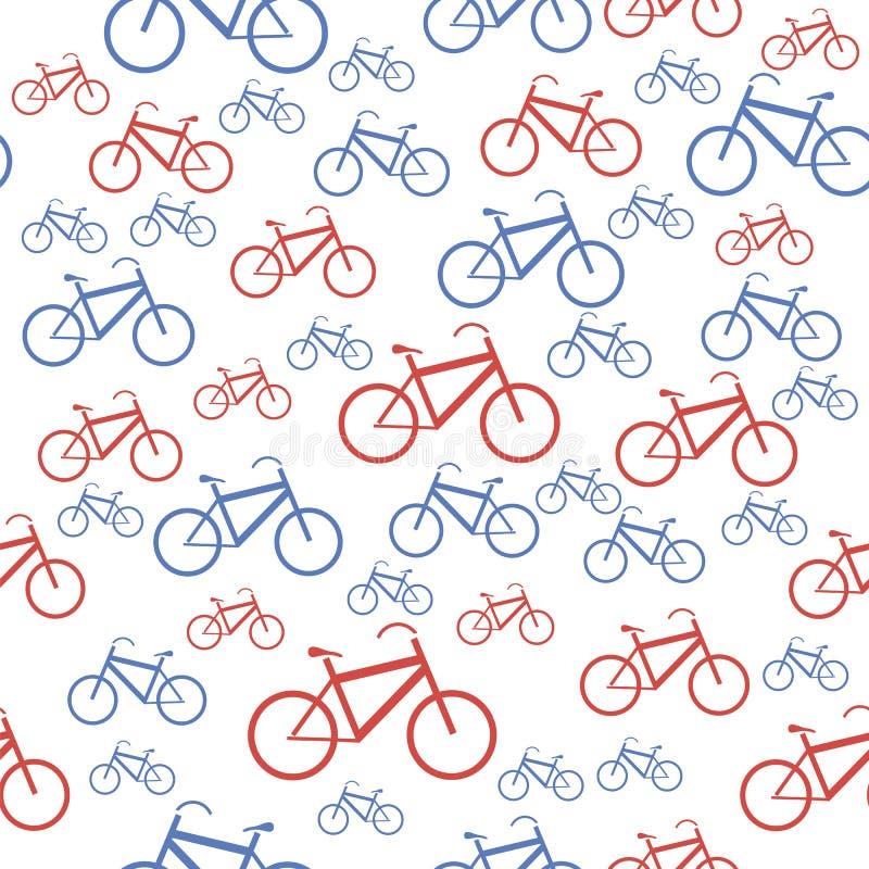 Het rode Blauwe Naadloze Patroon van het Fietssilhouet stock illustratie