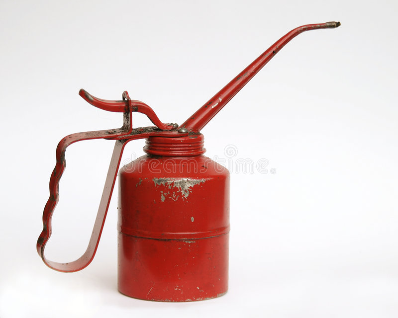 Het Rode Blik Van De Olie Dat Op Wit Wordt Geïsoleerdu Stock Fotografie