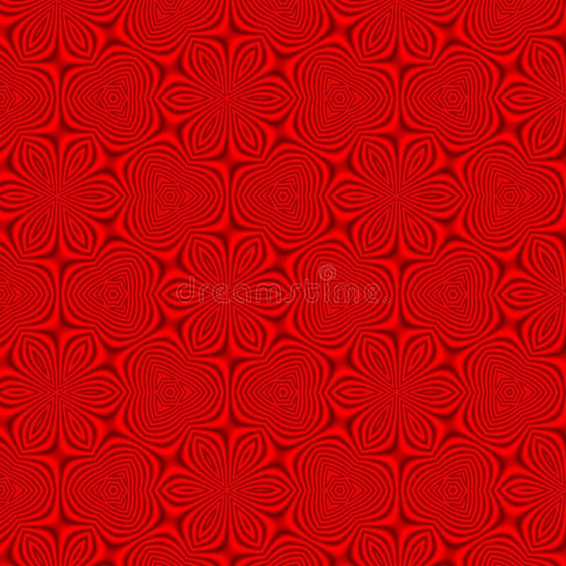 Het rode bloemenbehang, rode bloemen naadloze retro uitstekend nam achtergrond toe vector illustratie