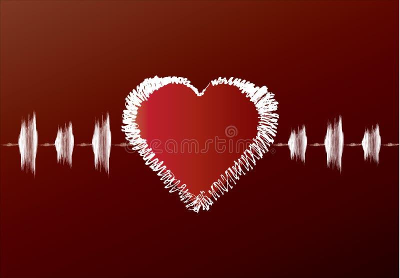 Het rode cardiogram van de Valentijnskaart royalty-vrije illustratie