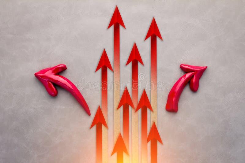 Het rode concept van Business van de pijlleider Rode pijlleider Business c stock foto