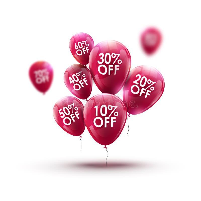 Het rode concept van de de reclameverkoop van de ballonsmarkt Opslag of winkel marketing bannerontwerp Kleinhandelskortingsachter vector illustratie