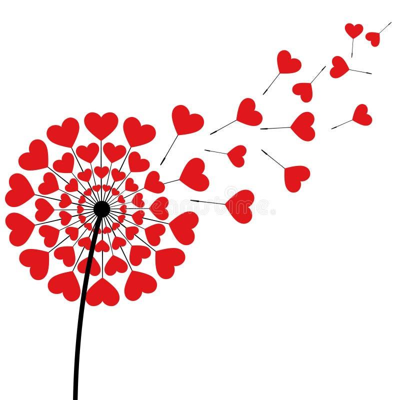 Het rode die hart van de paardebloempluis op witte achtergrond wordt gevormd royalty-vrije illustratie