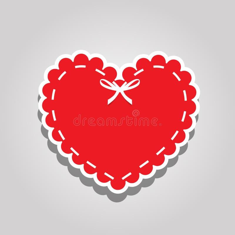 Het rode document etiket van het besnoeiingshart met het witte rijgen en lint royalty-vrije illustratie