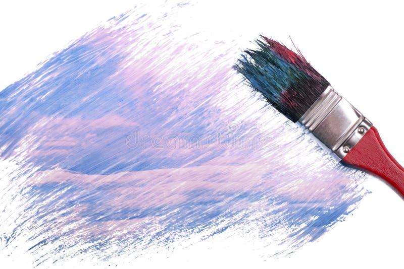 Het rode en blauwe kleur schilderen stock fotografie
