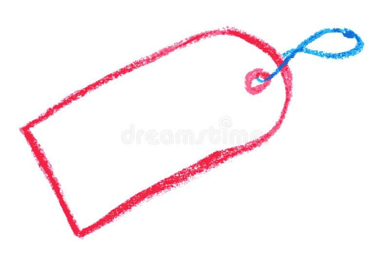 Het rode en Blauwe Kleurpotlood, Hand trekt Schets, Lege Hangende Markering stock illustratie