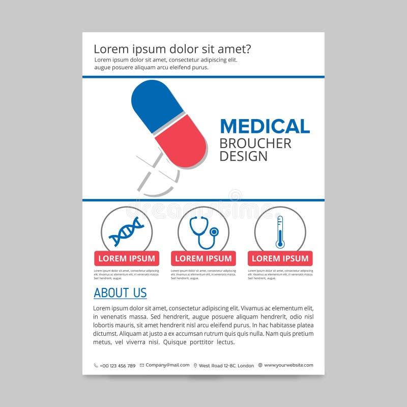 het rode en blauwe medische malplaatje van de vliegerlay-out, brochureachtergrond, vector illustratie