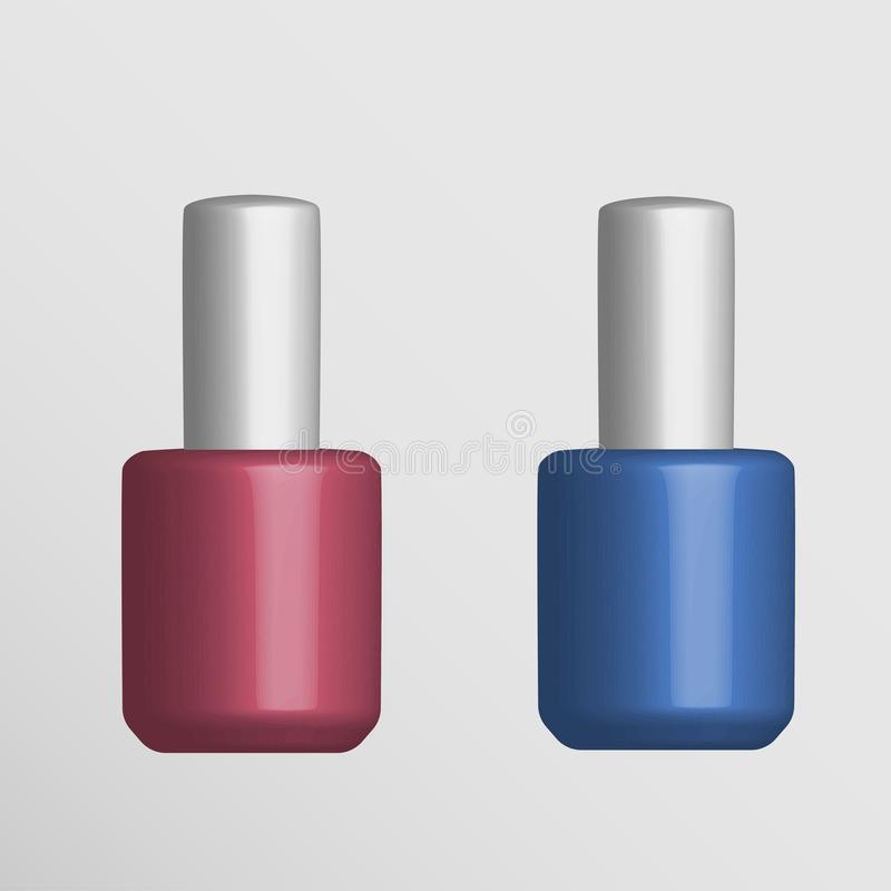 Het rode en blauwe model van de nagellakfles vector illustratie