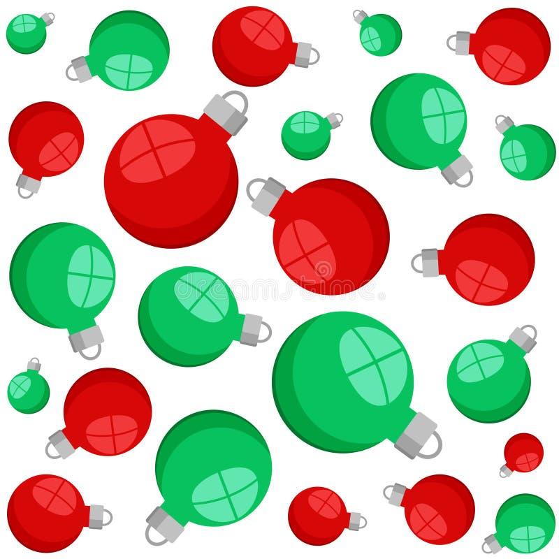Het rode en groene naadloze patroon van Kerstmis decoratieve ballen op wit, voorraad vectorillustratie stock illustratie