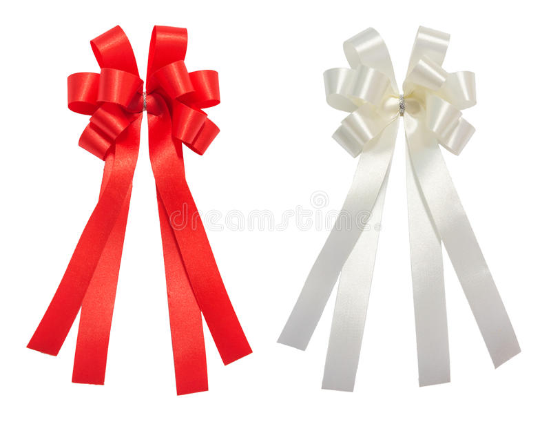 Het rode en witte glanzende lint van het boogverhaal, Kerstmis, beloning, prijs, royalty-vrije stock afbeelding