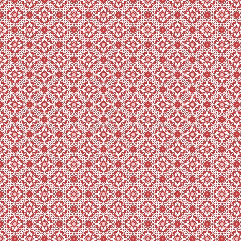 Het rode en witte uitstekende damast herhaalt patroon royalty-vrije stock foto's