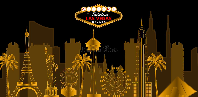 Het rode en witte van letters voorzien van Las Vegas Vector met skycrapers, reispictogram stock illustratie