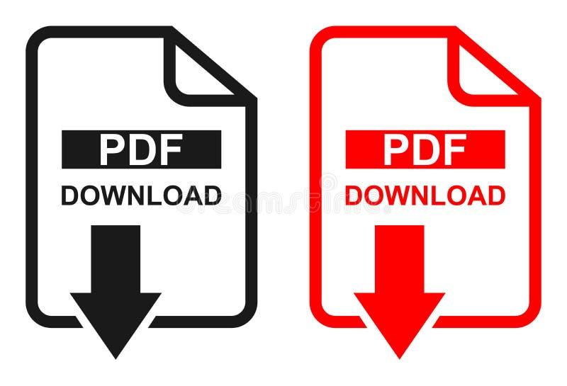 Het rode en zwarte pictogram van de het dossierdownload van kleurenpdf vector illustratie