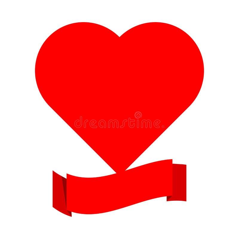 Het rode etiket van de lintbanner met grote die hartvorm hierboven op witte achtergrond wordt geïsoleerd stock illustratie