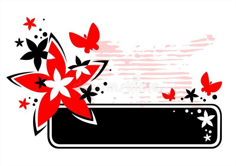 Het rode frame van de grungebloem royalty-vrije illustratie