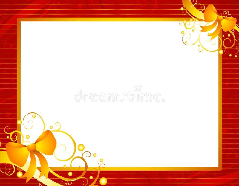 Het rode Frame van Kerstmis met Goud   royalty-vrije illustratie