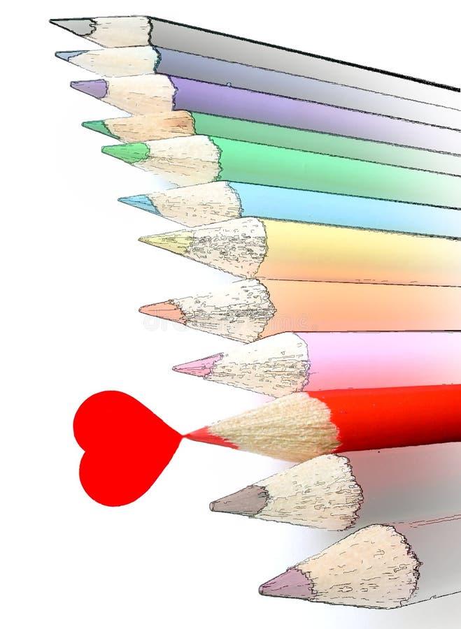 Het rode geïsoleerde& hart van het potloodkleurpotlood w stock foto's