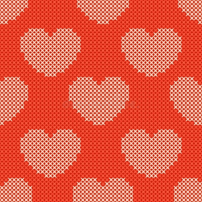 Het rode gebreide naadloze patroon van de valentijnskaartendag stock illustratie