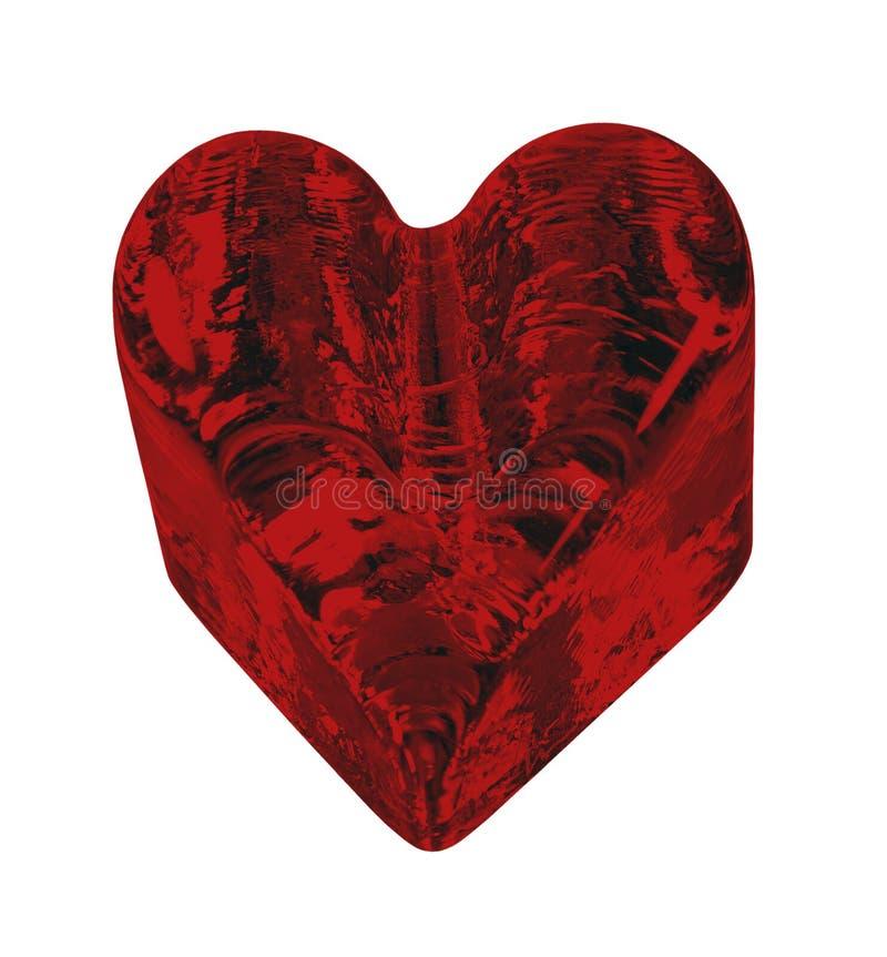 Het rode Geweven Hart van het Kristal stock foto