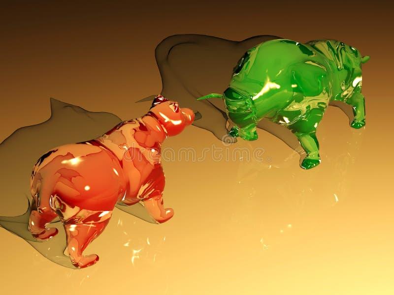 Het rode glas draagt cijfer confronteert het groene cijfer van de glasstier vector illustratie
