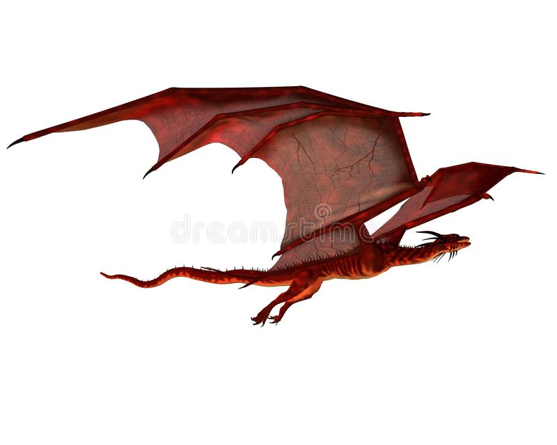 Het rode Glijden van de Draak stock illustratie