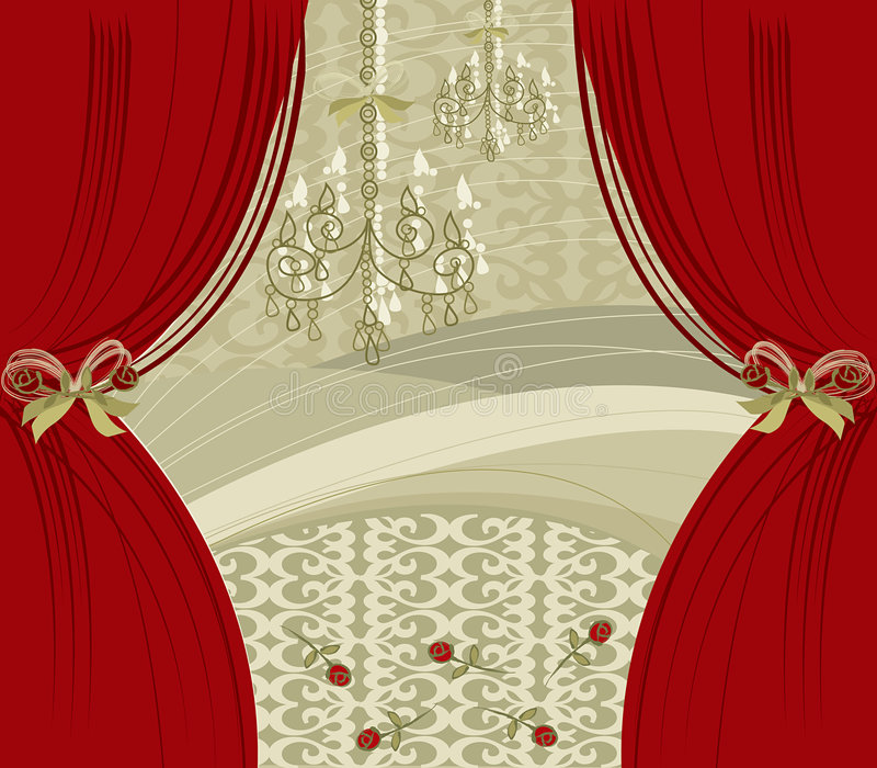 Het rode gordijn van de encore royalty-vrije illustratie