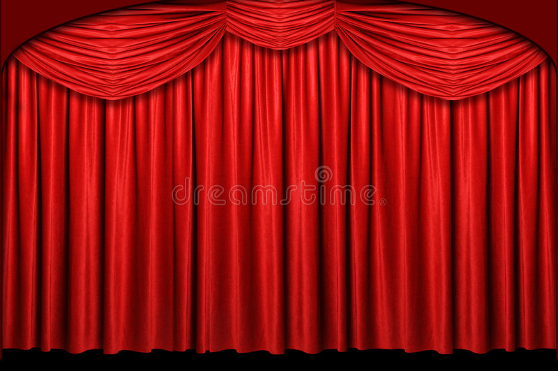 Het rode Gordijn van het Stadium royalty-vrije stock afbeelding