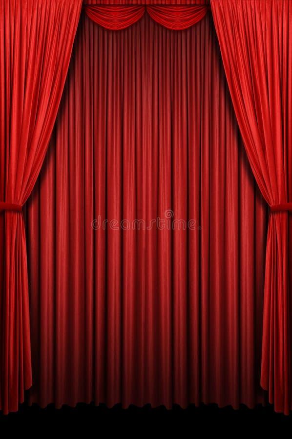 Het rode Gordijn van het Stadium stock fotografie