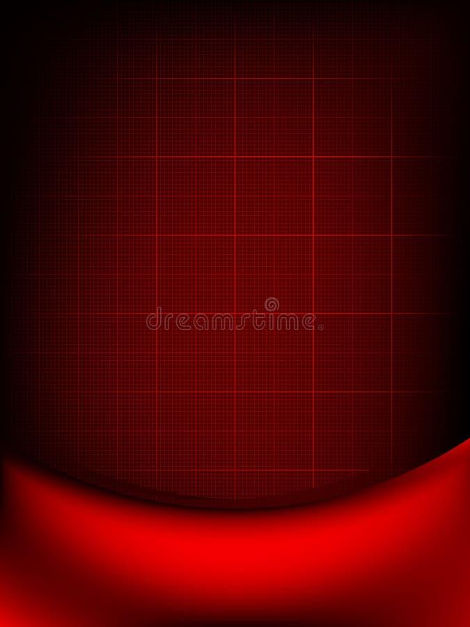 Het rode gordijn verdwijnt aan donkere kaart langzaam. EPS 10 royalty-vrije illustratie