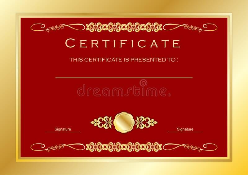 Het rode Gouden Certificaat/Malplaatje van de Diplomatoekenning, Luxe vector illustratie