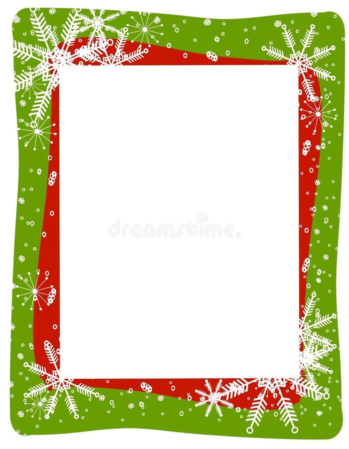 Het rode Groene Frame van de Sneeuwvlok stock illustratie