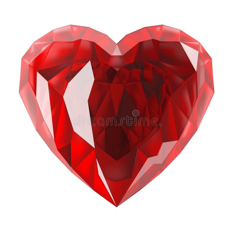 Het rode hart is een gem stock illustratie