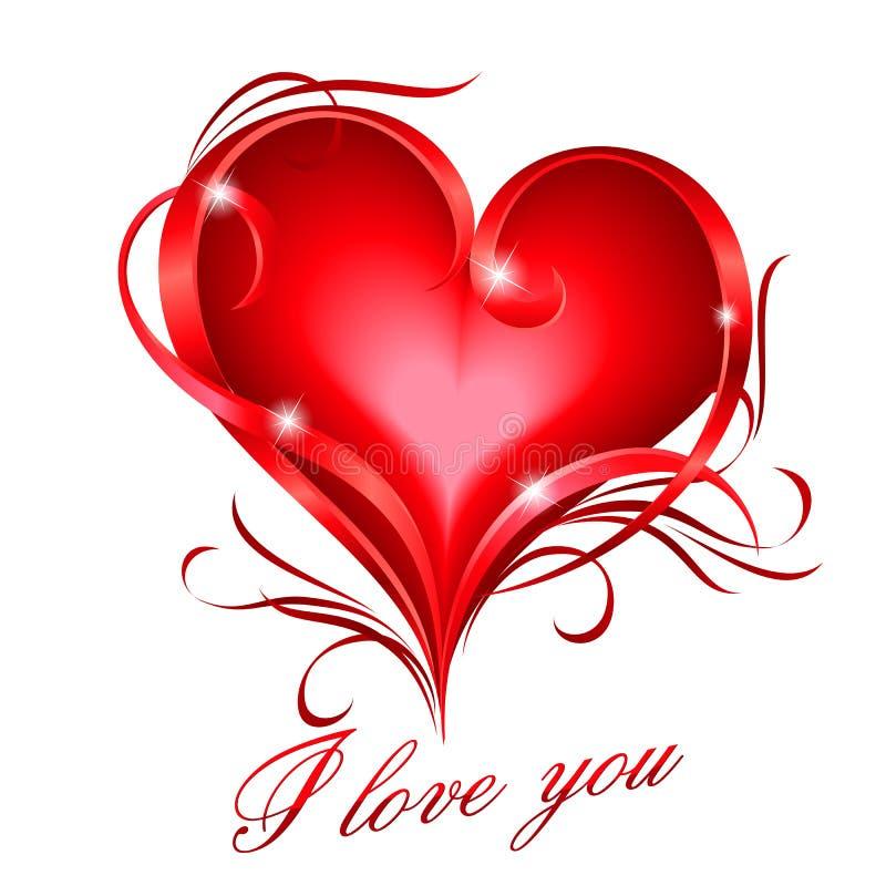 Het rode hart met I houdt van u tekst vector illustratie