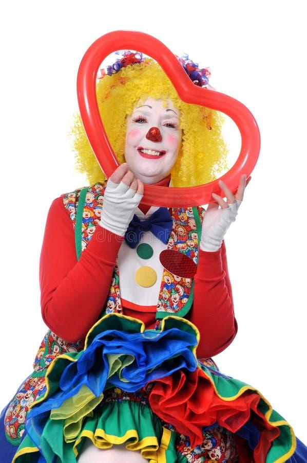 Het Rode Hart van de Holding van de clown royalty-vrije stock foto