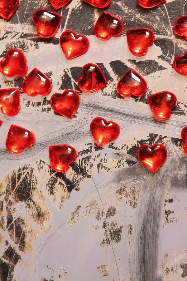 Het rode Hart van het Glas De achtergrond van de valentijnskaart stock afbeelding