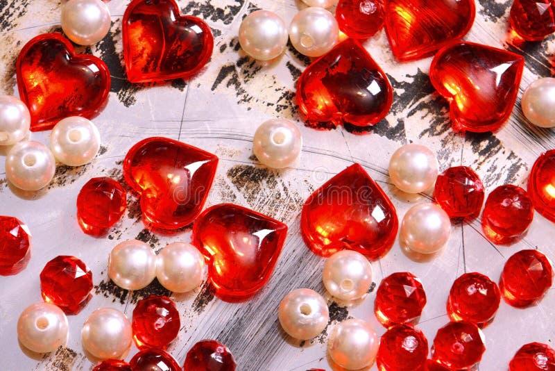 Het rode Hart van het Glas De achtergrond van de valentijnskaart stock foto
