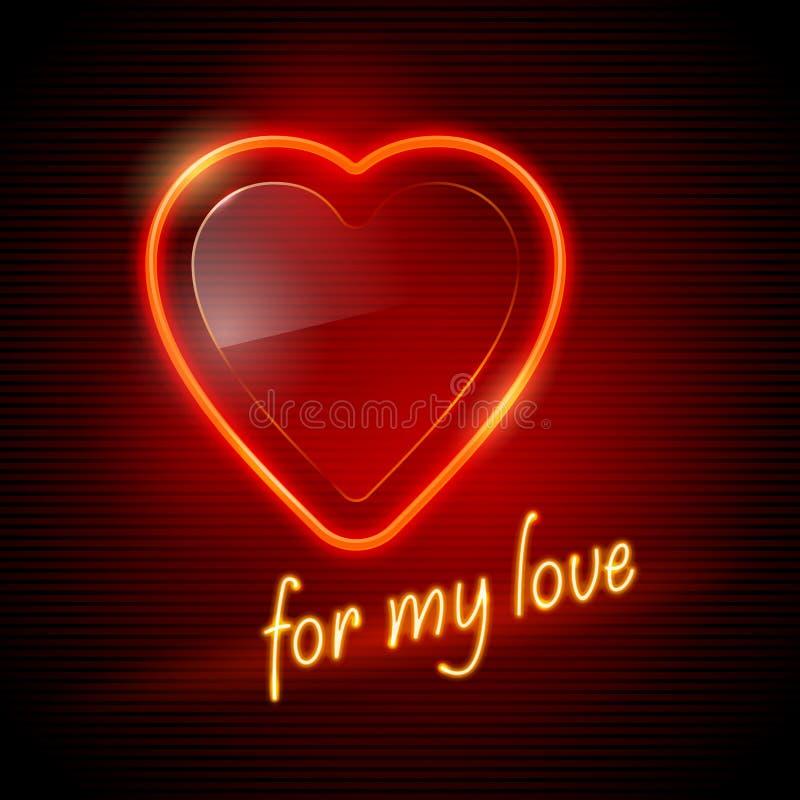 Het rode hart van het neon vector illustratie