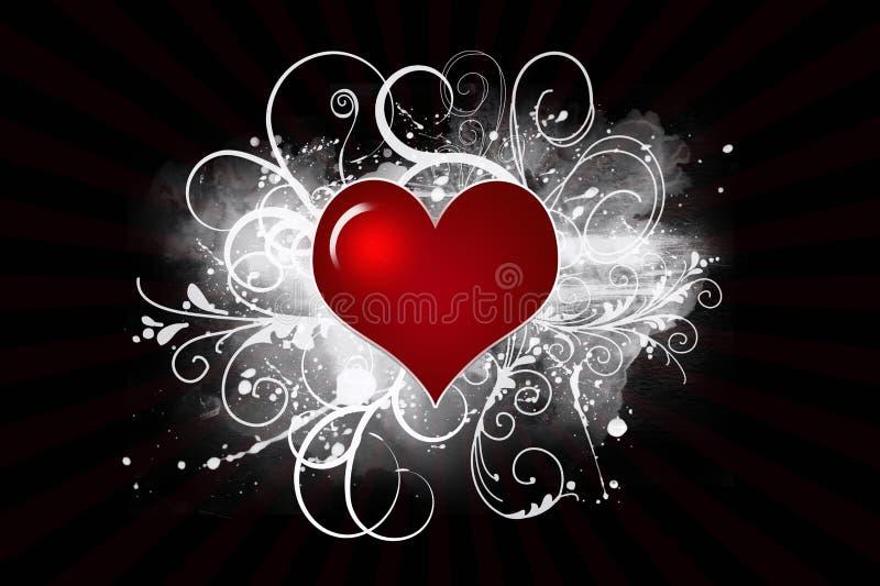 Het rode Hart van Valentijnskaarten royalty-vrije illustratie