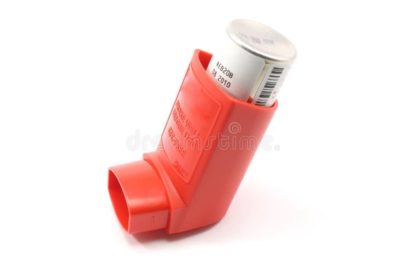 Het rode Inhaleertoestel van het Astma stock fotografie
