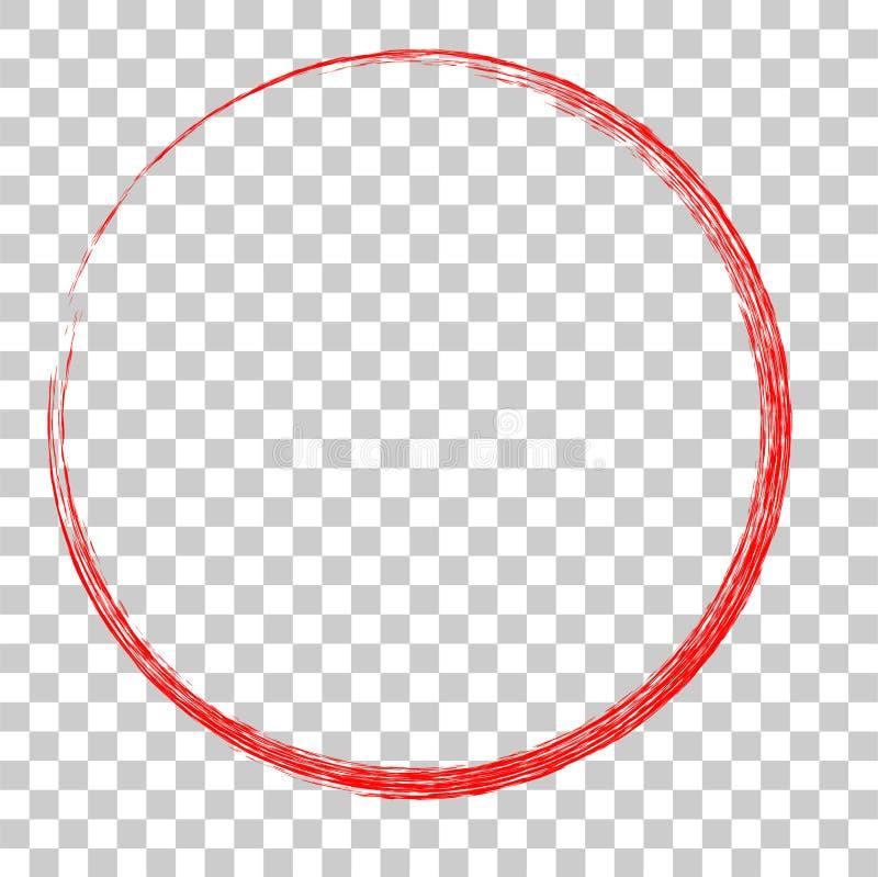 Het rode kader van het cirkelkleurpotlood, bij transparante effect achtergrond vector illustratie