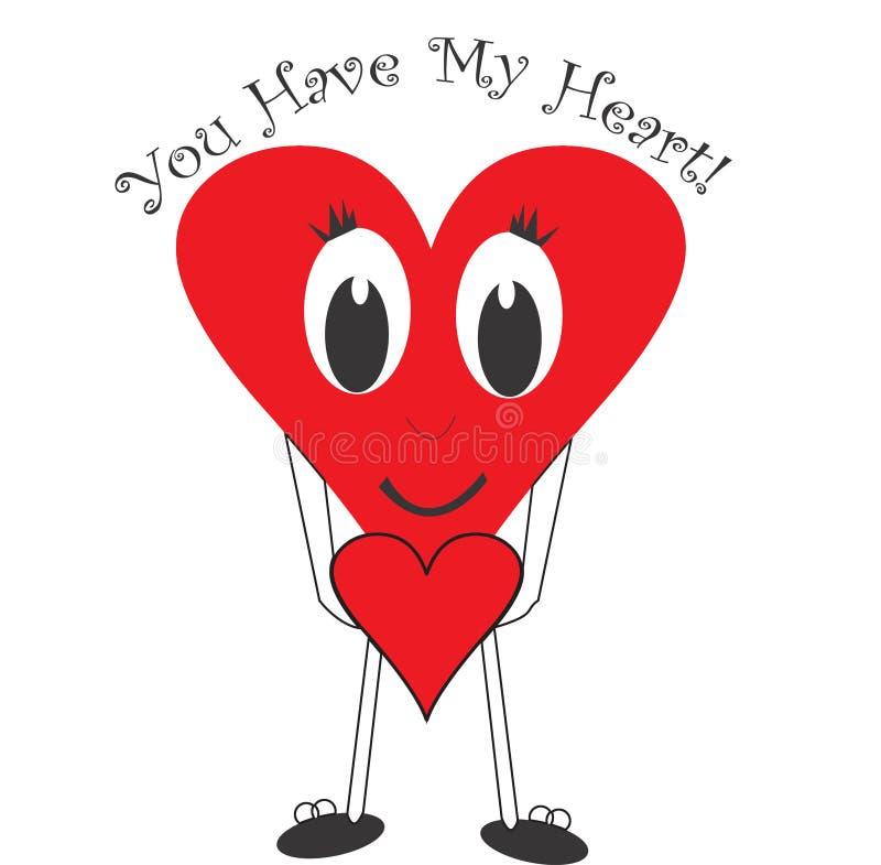 Het rode karakter van het liefdehart vector illustratie
