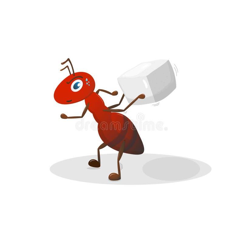 Het rode karakter van het mierenbeeldverhaal voorwerpen op witte achtergrond royalty-vrije illustratie